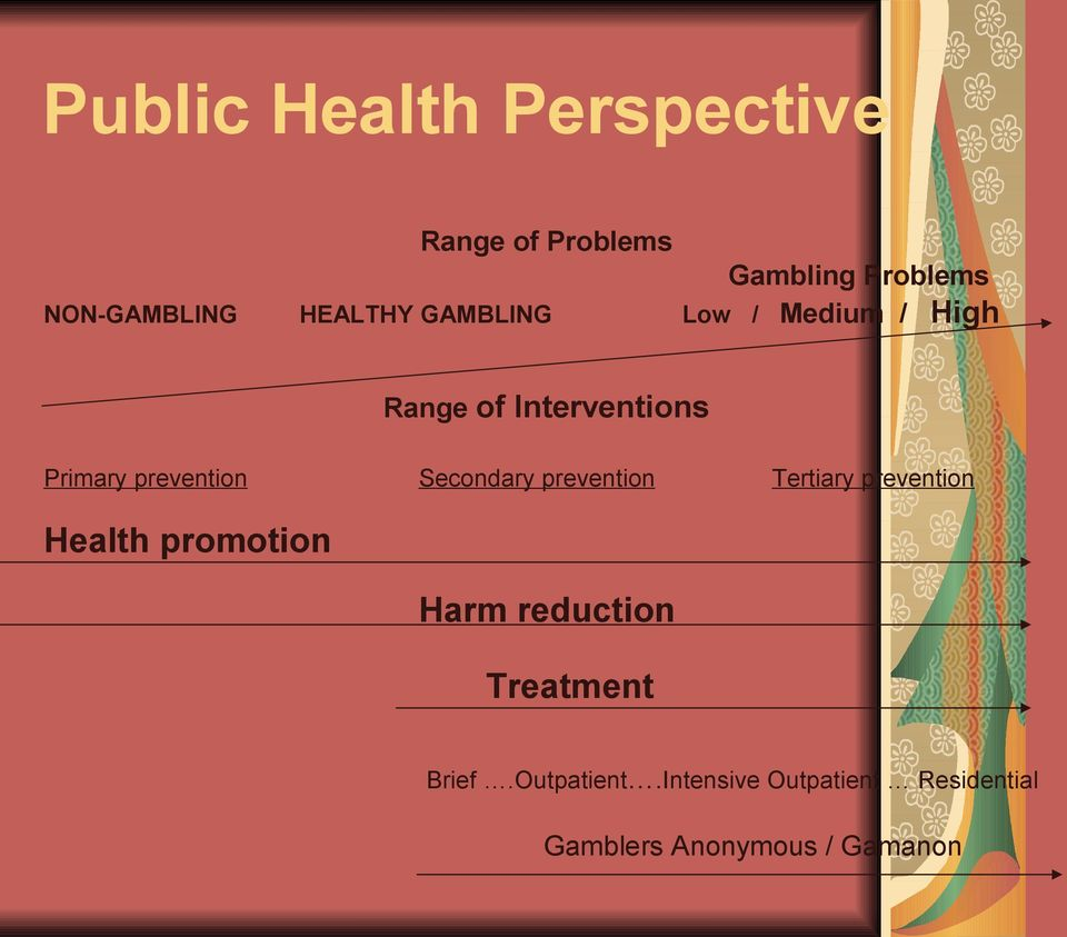 Secondary prevention Tertiary prevention Health promotion Harm reduction