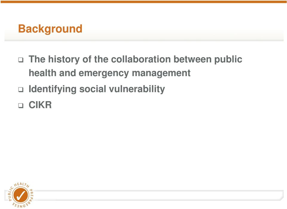 health and emergency management