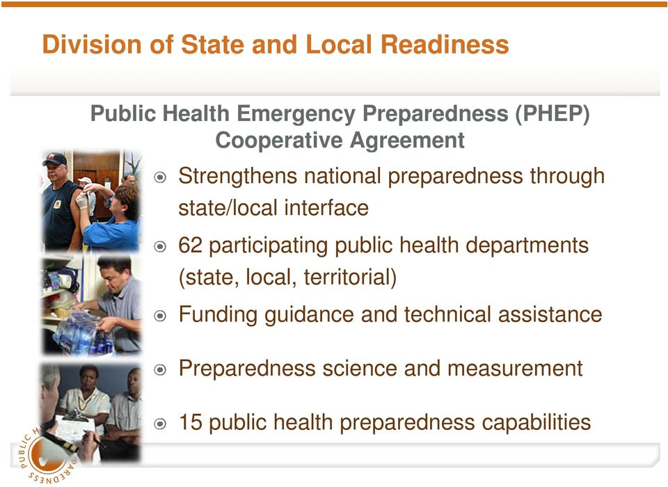 participating public health departments (state, local, territorial) Funding guidance and