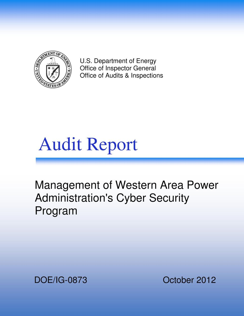 Report Management of Western Area Power