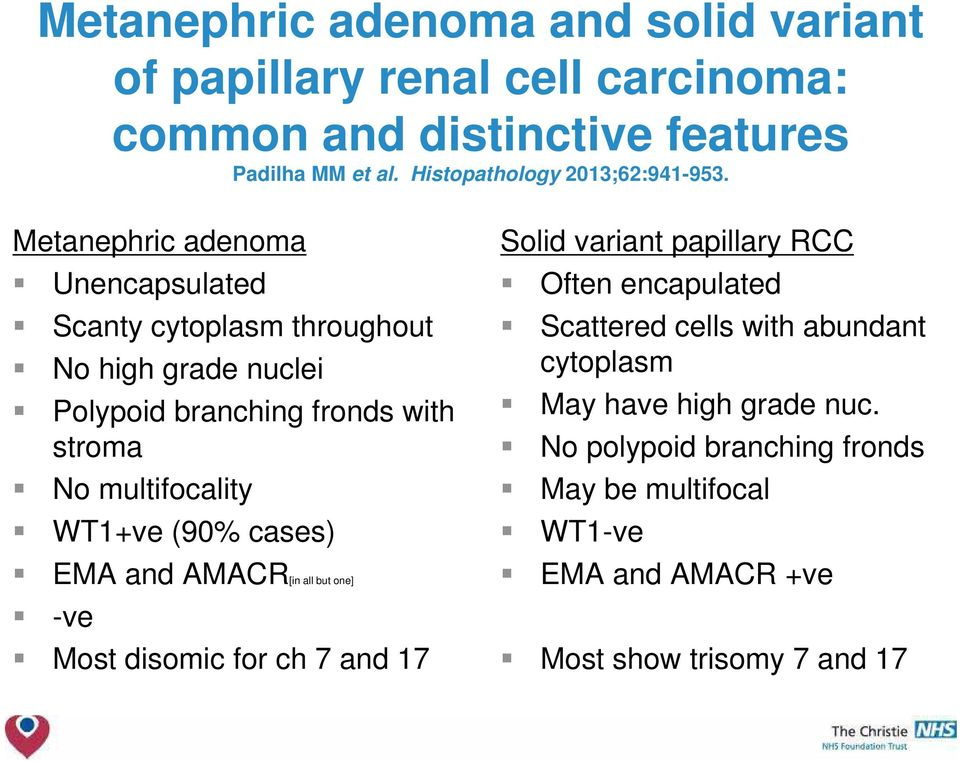 Metanephric adenoma Unencapsulated Scanty cytoplasm throughout No high grade nuclei Polypoid branching fronds with stroma No multifocality WT1+ve