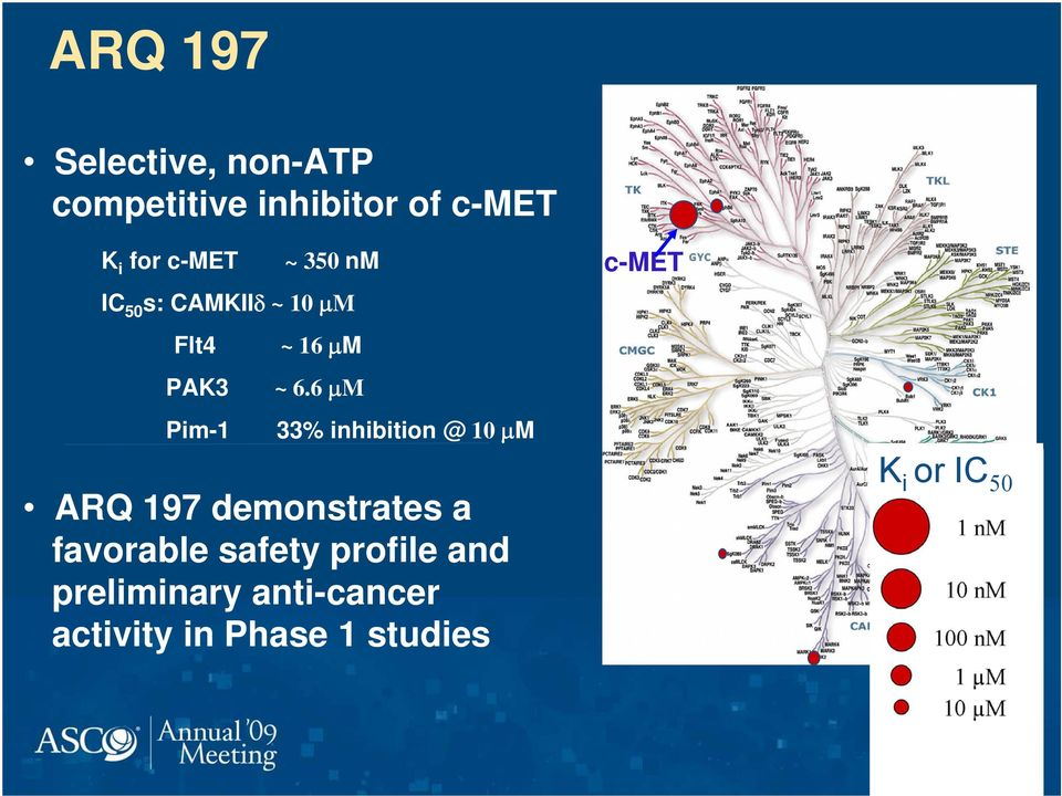 6 M Pim-1 33% inhibition @ 10 M c-met ARQ 197 demonstrates a