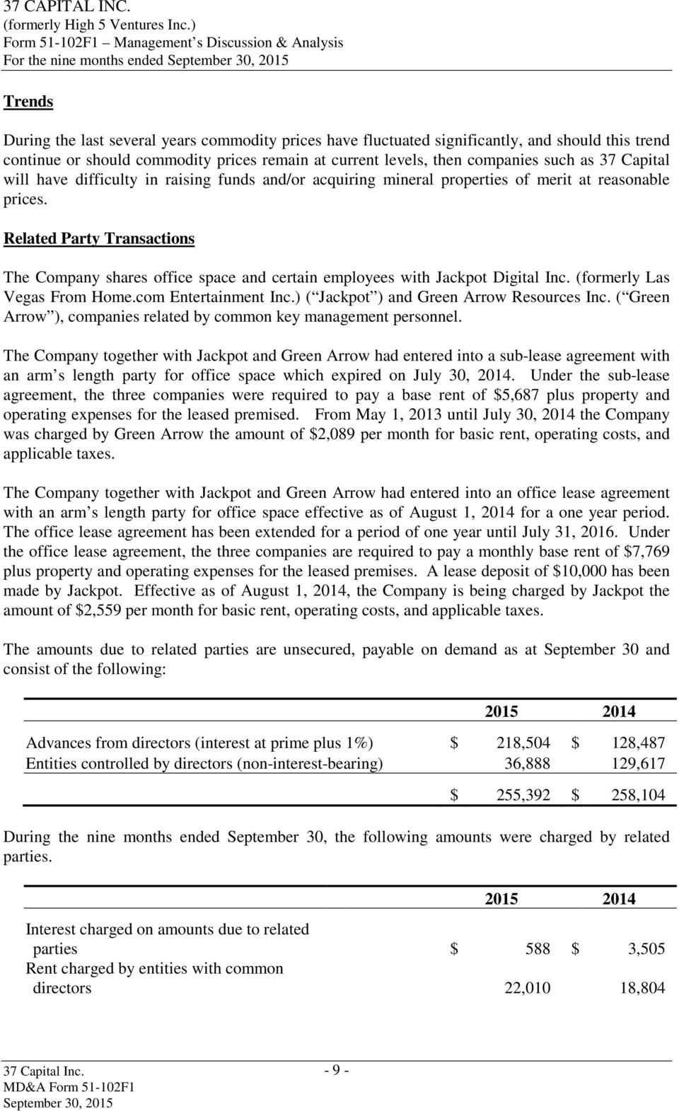 Related Party Transactions The Company shares office space and certain employees with Jackpot Digital Inc. (formerly Las Vegas From Home.com Entertainment Inc.