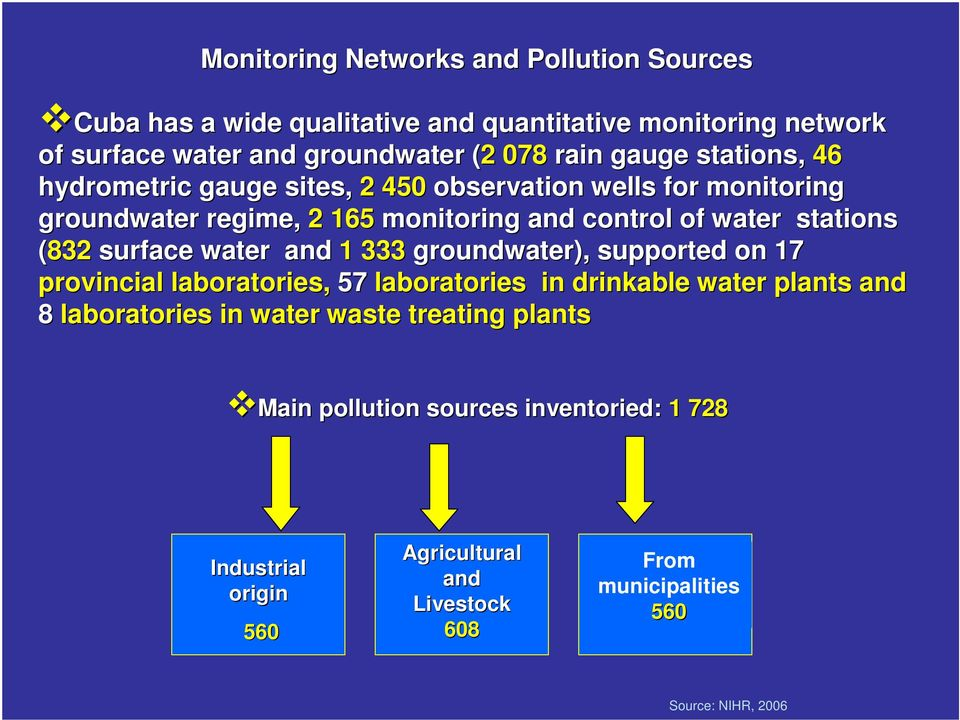 surface water and 1 333 groundwater), supported on 17 provincial laboratories, 57 laboratories in drinkable water plants and 8 laboratories in water waste