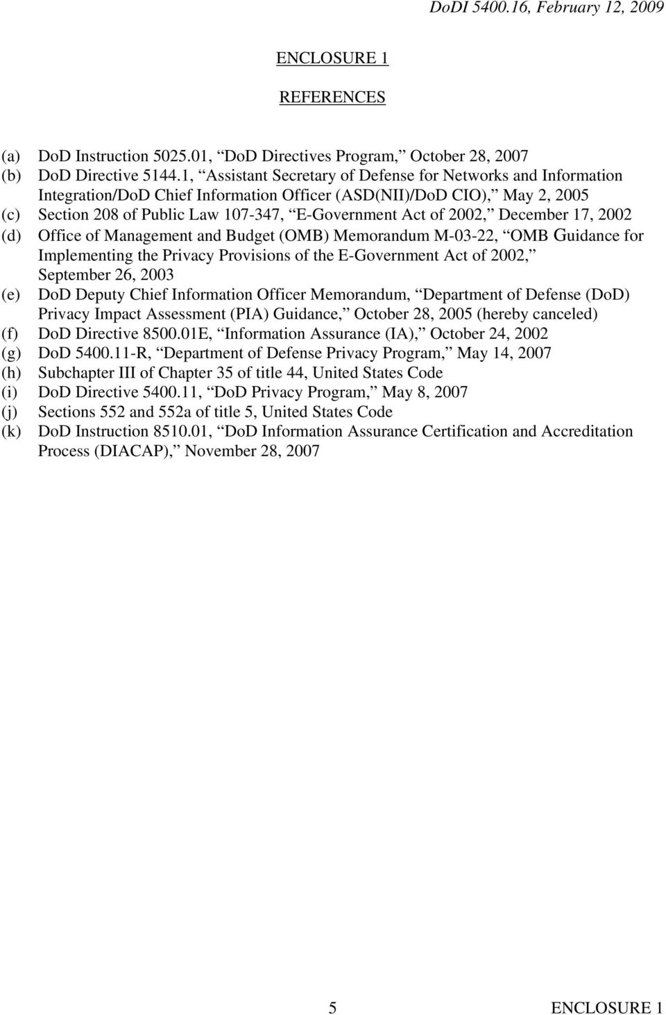 2002, December 17, 2002 (d) Office of Management and Budget (OMB) Memorandum M-03-22, OMB Guidance for Implementing the Privacy Provisions of the E-Government Act of 2002, September 26, 2003 (e) DoD
