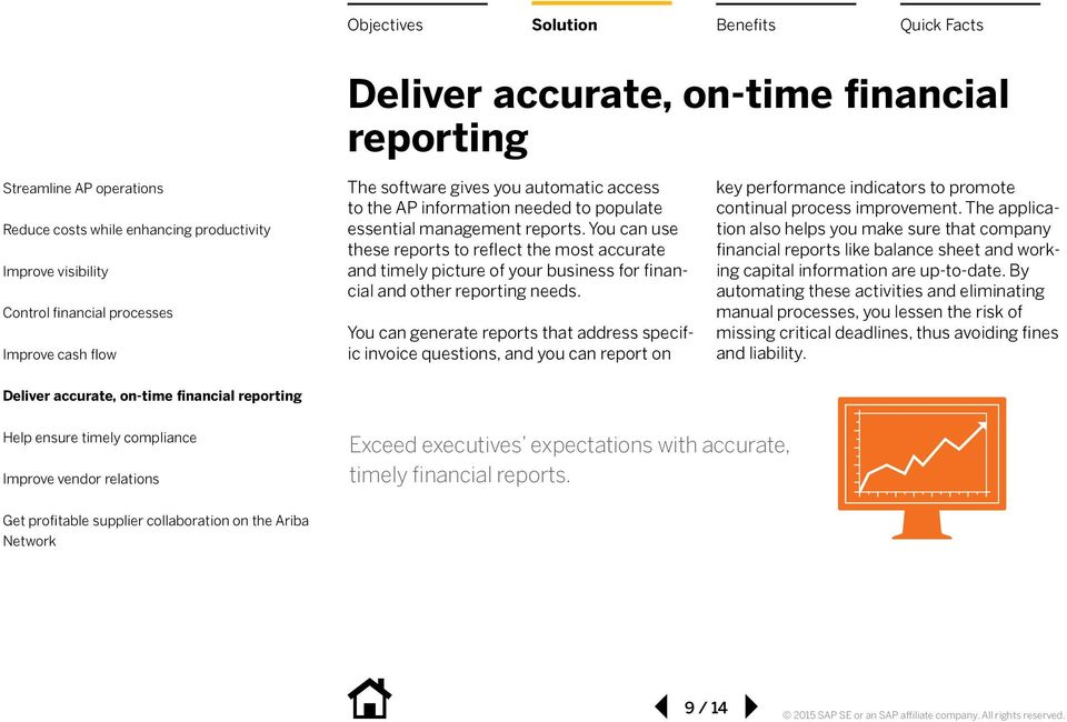 You can generate reports that address specific invoice questions, and you can report on key performance indicators to promote continual process improvement.