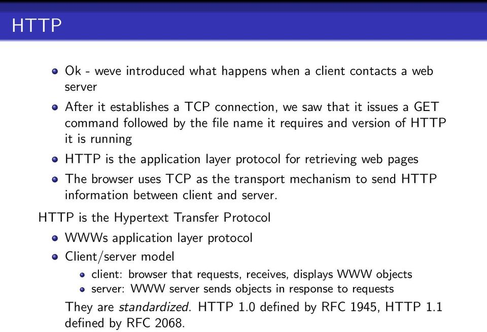 to send HTTP information between client and server.