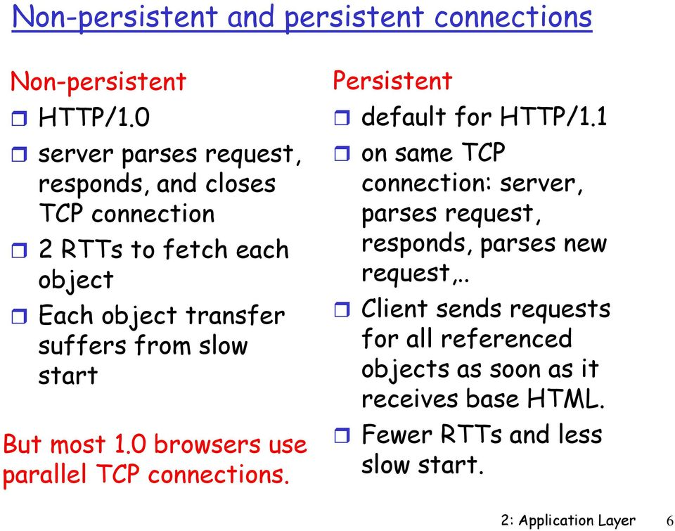 slow start But most 1.0 browsers use parallel TCP connections. Persistent default for HTTP/1.