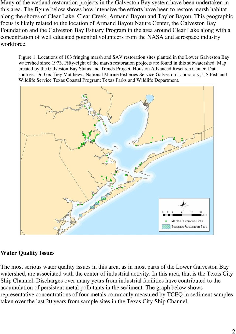 This geographic focus is likely related to the location of Armand Bayou Nature Center, the Galveston Bay Foundation and the Galveston Bay Estuary Program in the area around Clear Lake along with a