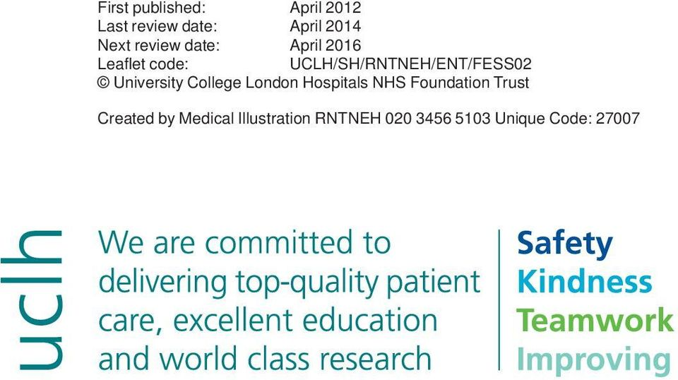 UCLH/SH/RNTNEH/ENT/FESS02 University College London Hospitals