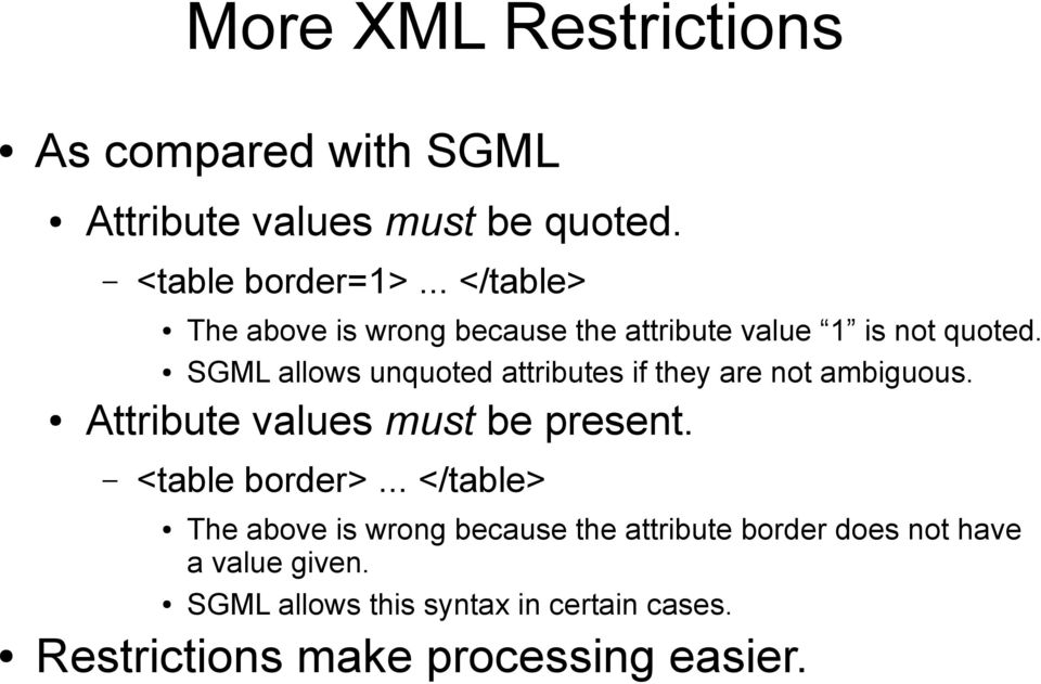 SGML allows unquoted attributes if they are not ambiguous. Attribute values must be present. <table border>.