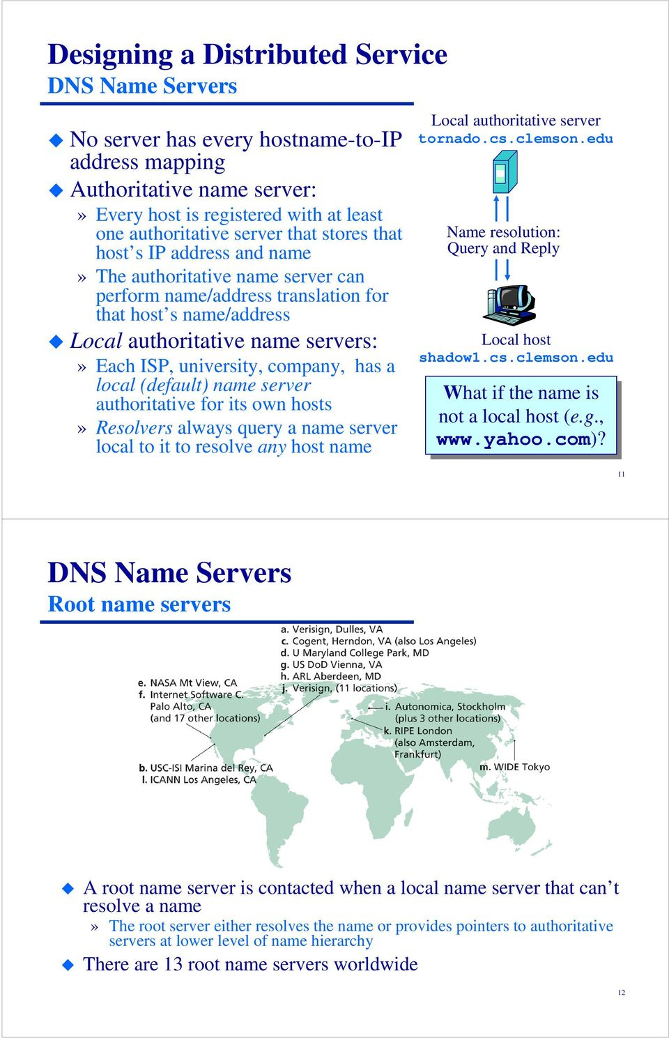 company, has a local (default) name server authoritative for its own hosts» Resolvers always query a name server local to it to resolve any host name Local authoritative server tornado.cs.clemson.