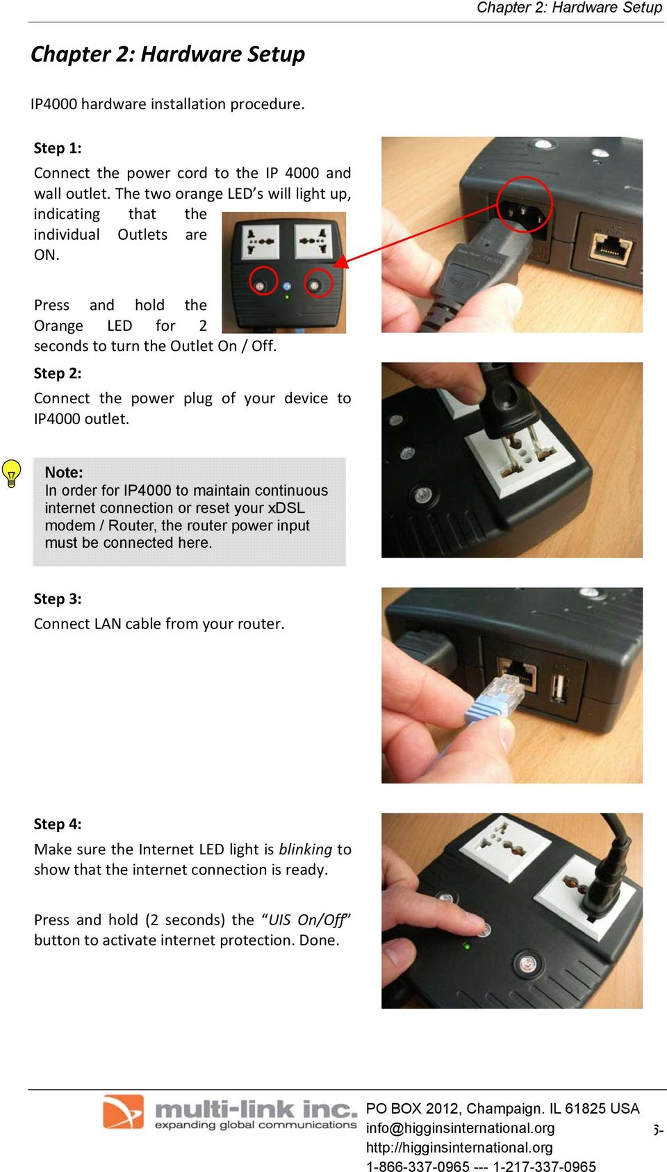 Step 2: Connect the power plug of your device to IP4000 outlet.