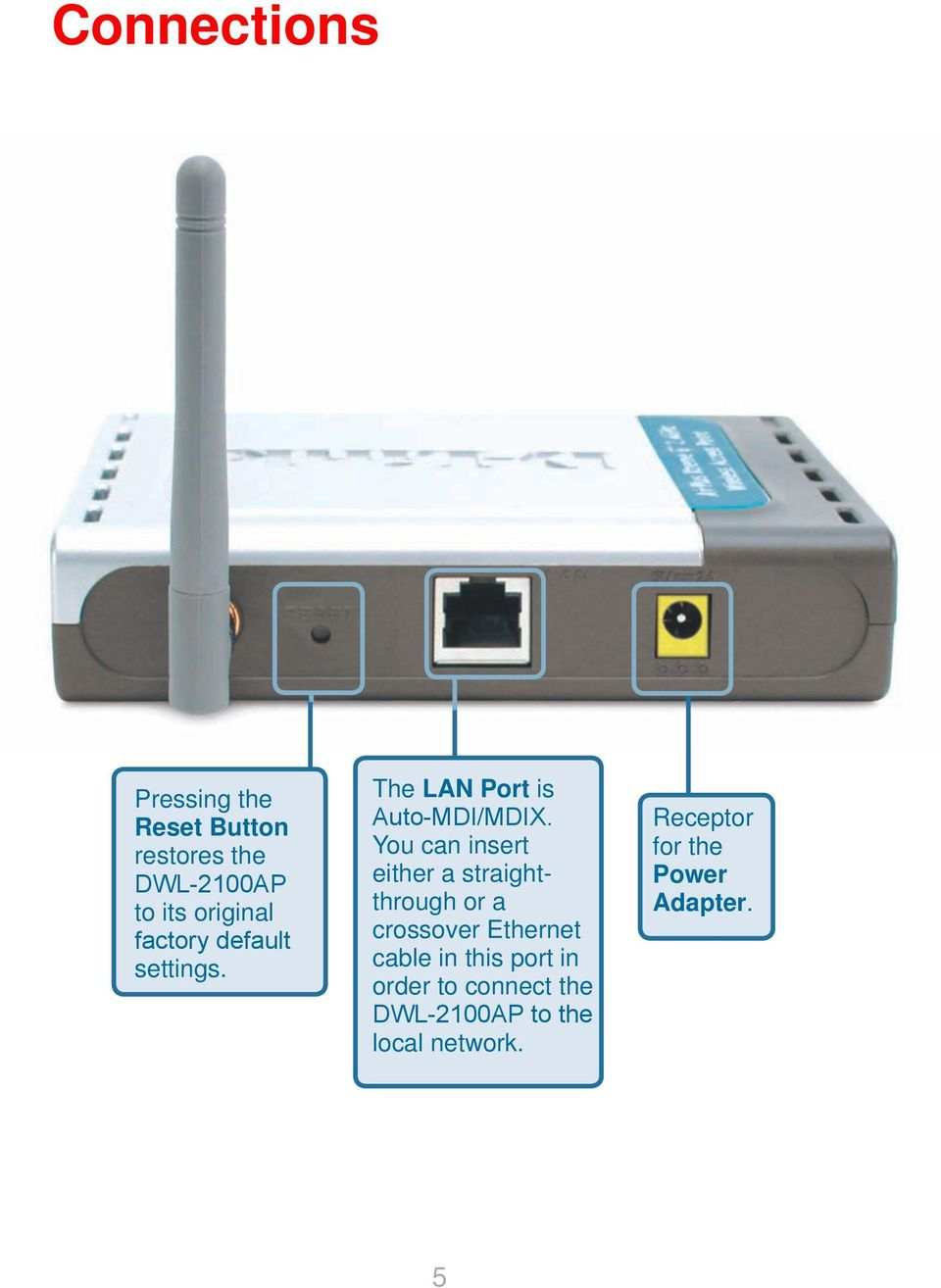 You can insert either a straightthrough or a crossover Ethernet cable in