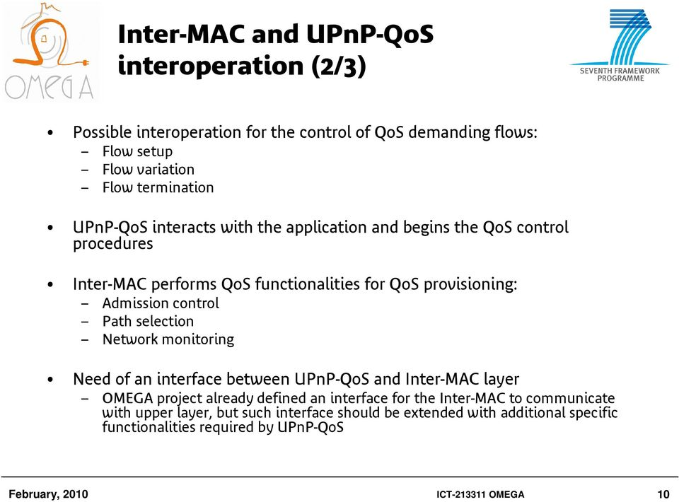 Path selection Network monitoring Need of an interface between UPnP-QoS and Inter-MAC layer OMEGA project already defined an interface for the Inter-MAC to