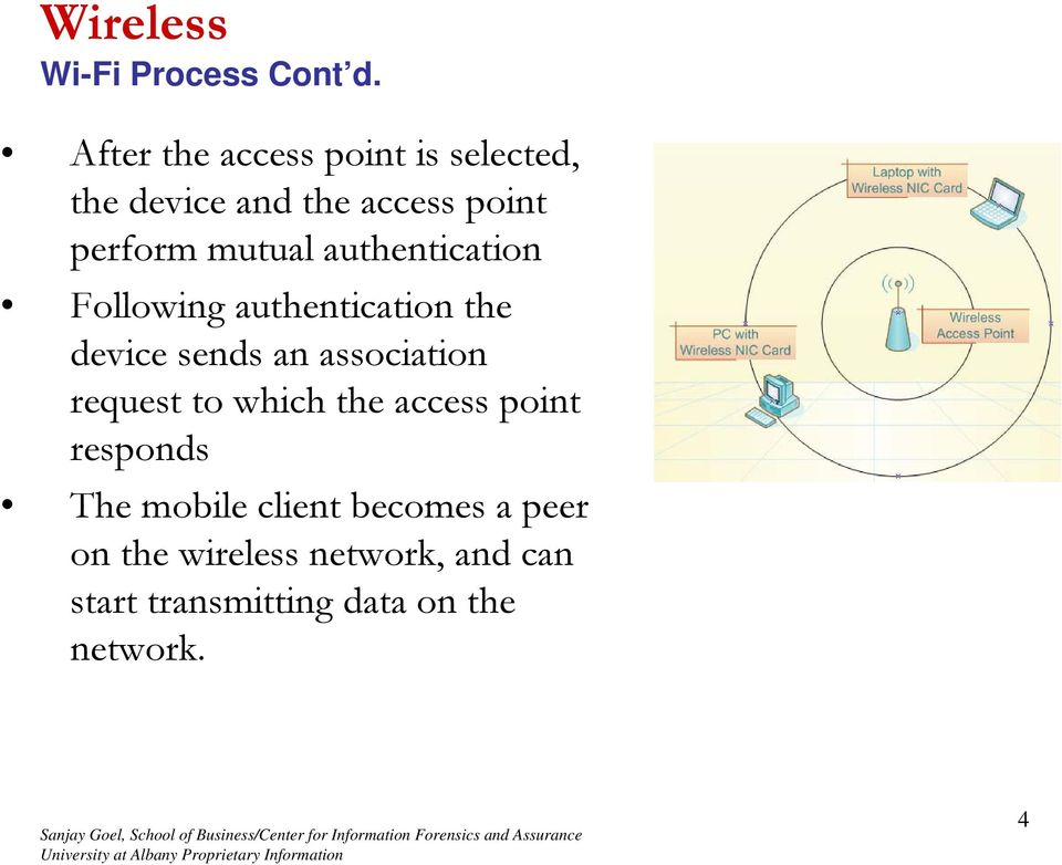 authentication Following authentication the device sends an association request to