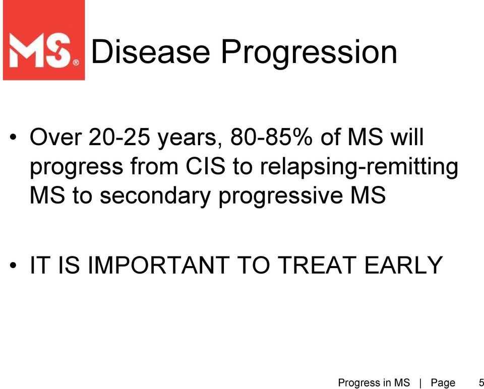 relapsing-remitting MS to secondary