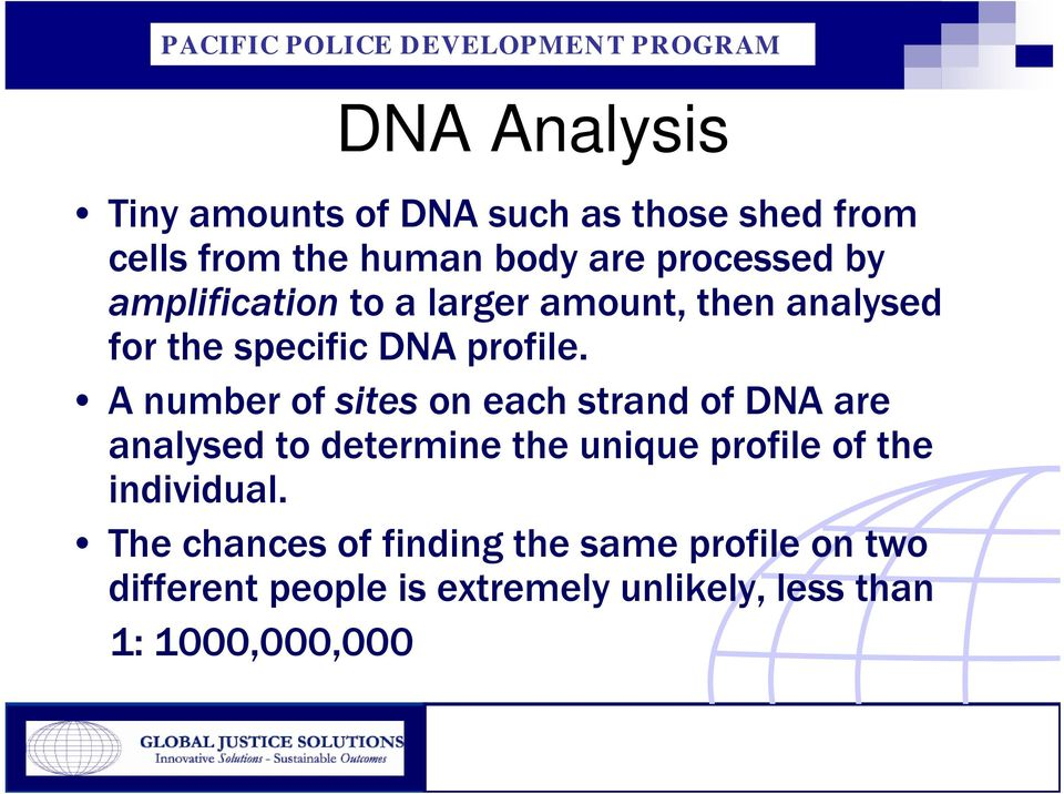 A number of sites on each strand of DNA are analysed to determine the unique profile of the