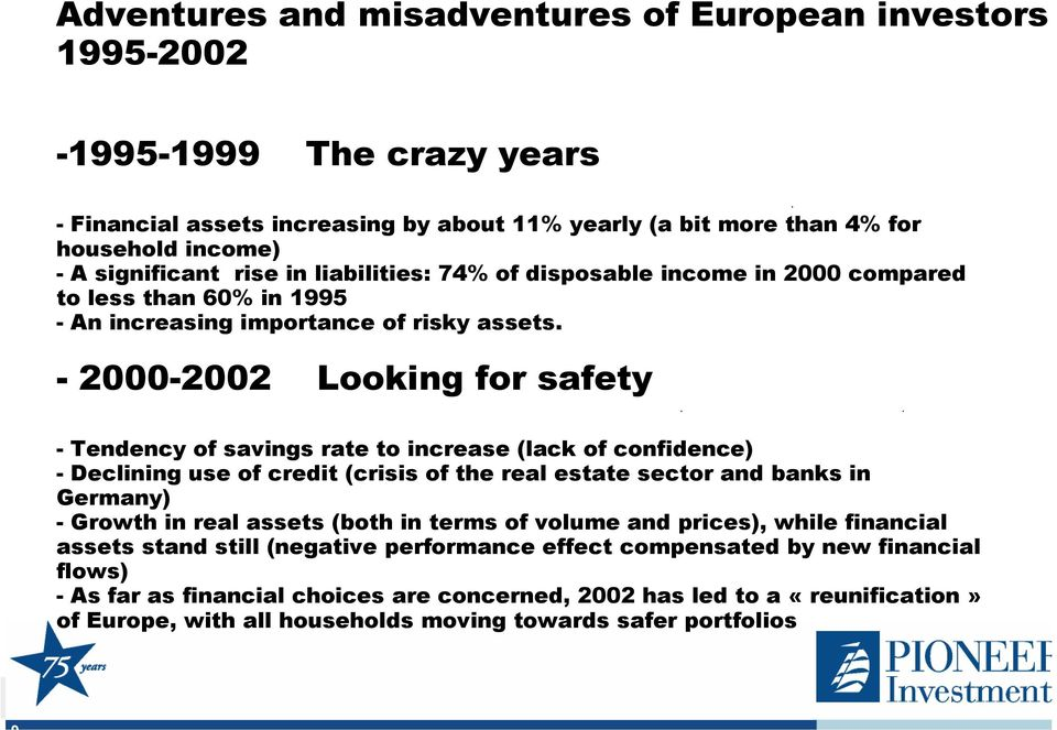 -2000-2002 Looking for safety -Tendency of savings rate to increase (lack of confidence) -Declining use of credit (crisis of the real estate sector and banks in Germany) -Growth in real assets (both