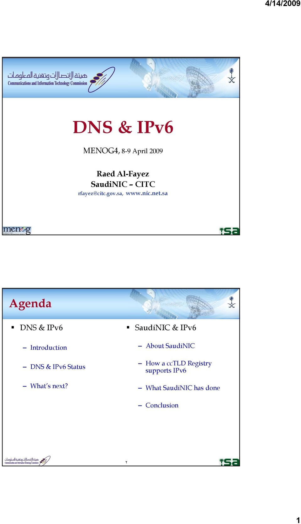 sa Agenda DNS & IPv6 Introduction What s next?