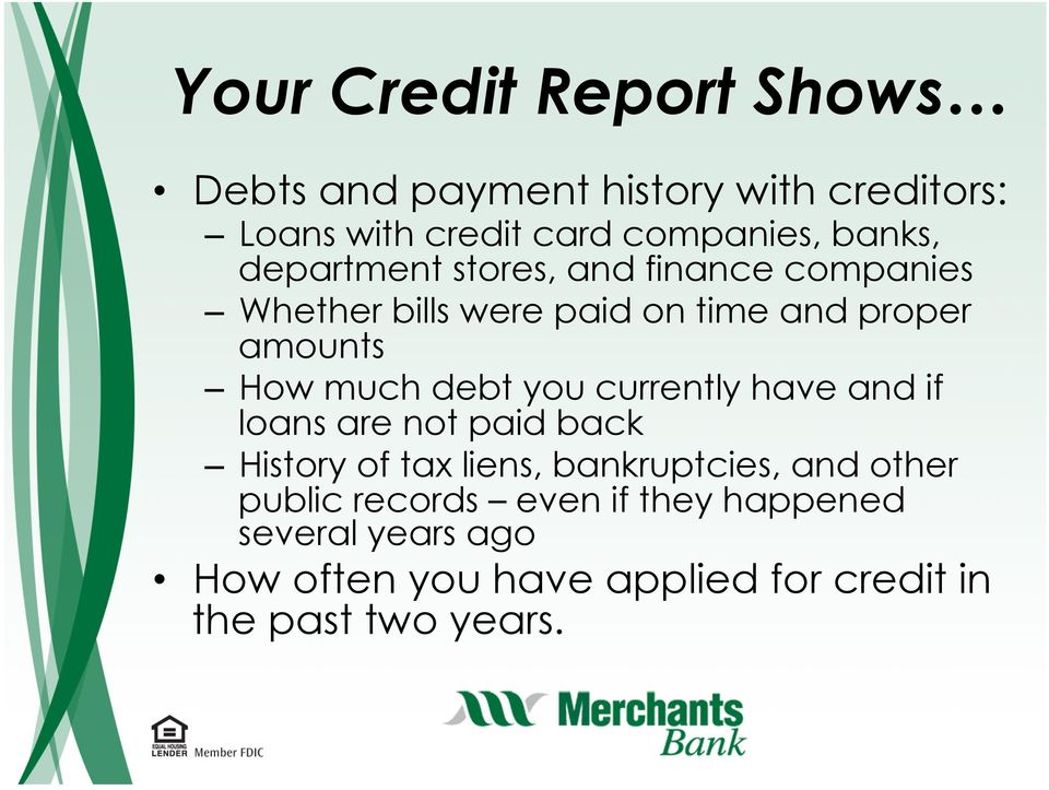 much debt you currently have and if loans are not paid back History of tax liens, bankruptcies, and other