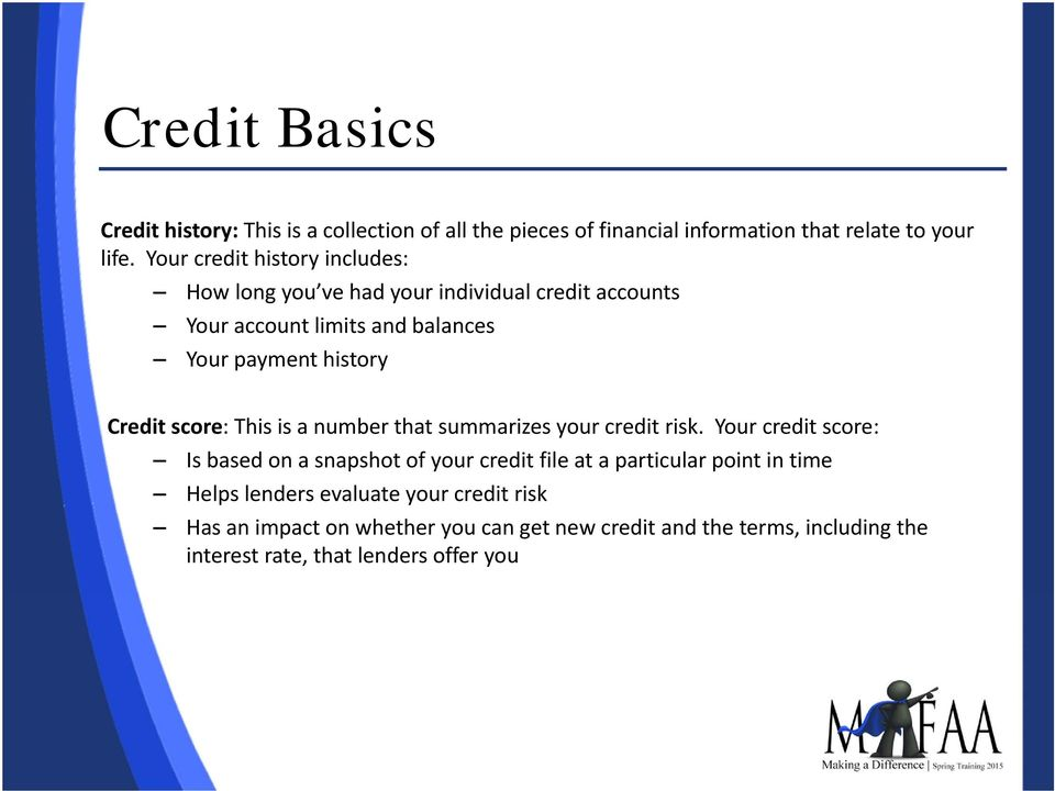 Credit score: This is a number that summarizes your credit risk.