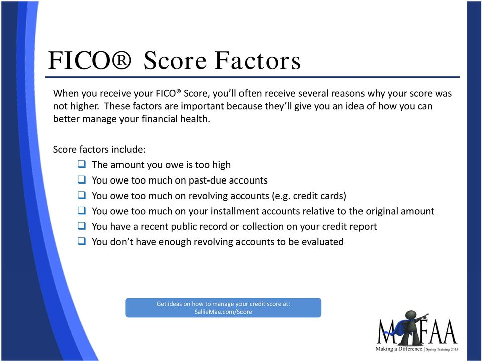 Score factors include: The amount you owe is too high