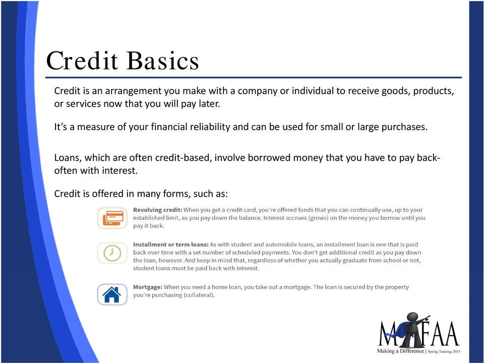 It s a measure of your financial reliability and can be used for small or large purchases.