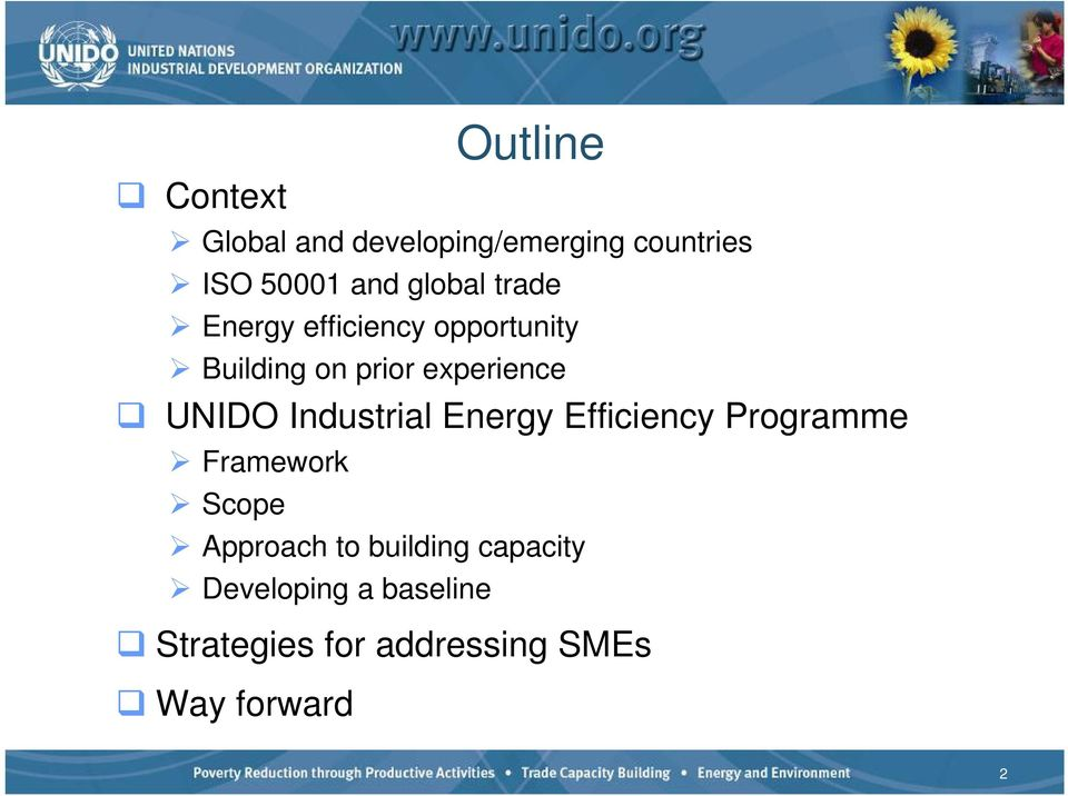 UNIDO Industrial Energy Efficiency Programme Framework Scope Approach to