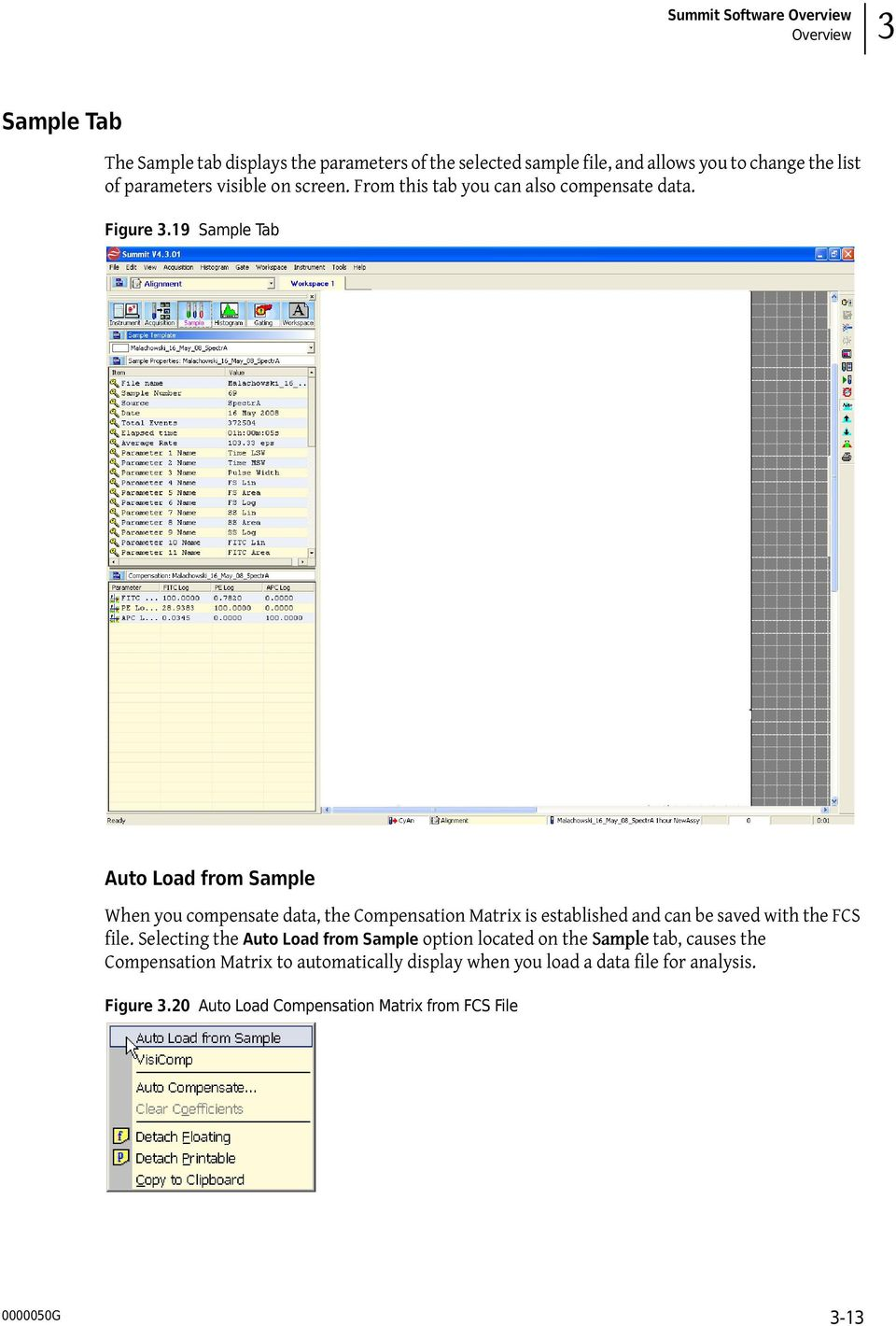 19 Sample Tab Auto Load from Sample When you compensate data, the Compensation Matrix is established and can be saved with the FCS file.