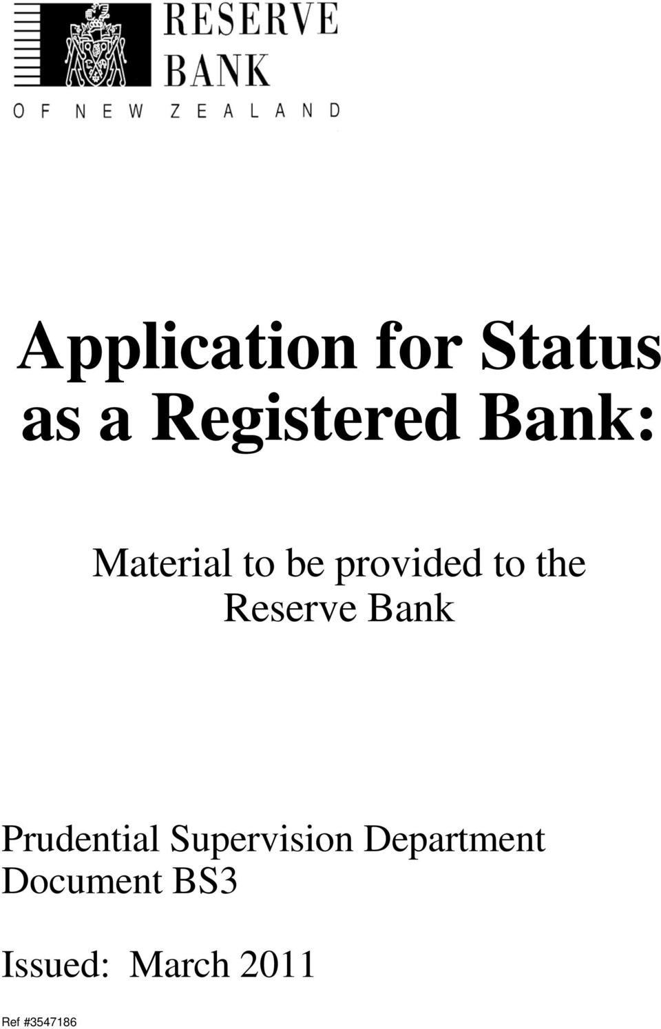 provided to the Reserve Bank