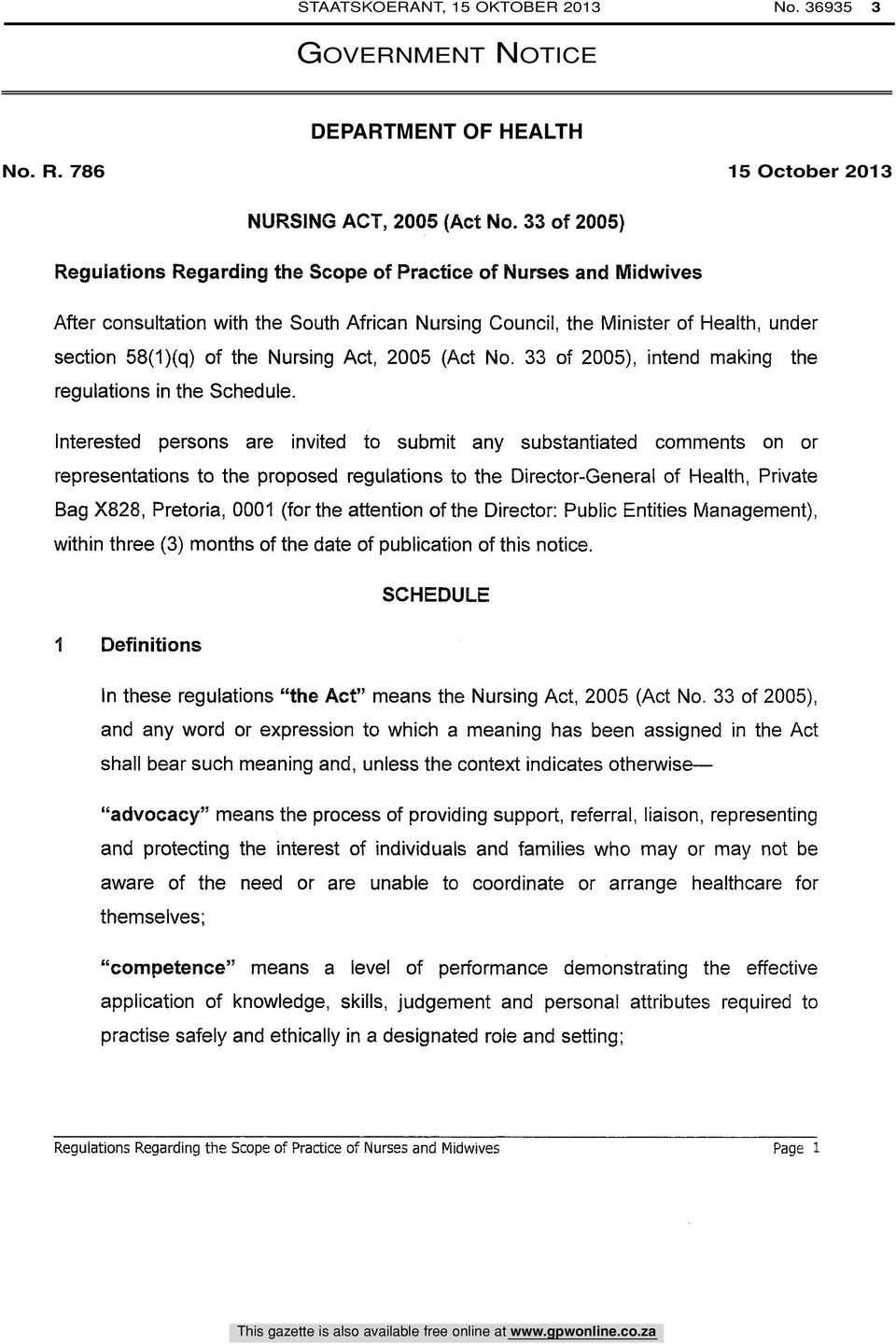 Act, 2005 (Act No. 33 of 2005), intend making the regulations in the Schedule.