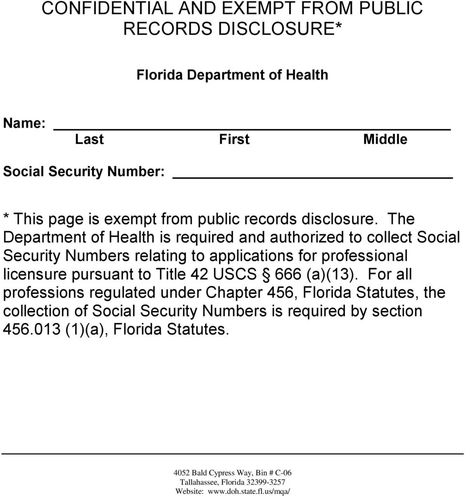 The Department of Health is required and authorized to collect Social Security Numbers relating to applications for professional licensure pursuant to Title