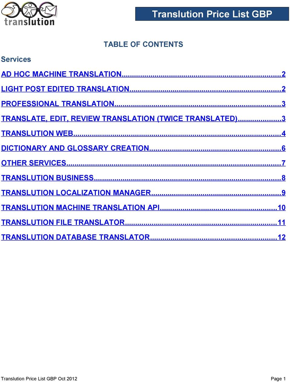 .. 4 DICTIONARY AND GLOSSARY CREATION... 6 OTHER SERVICES... 7 TRANSLUTION BUSINESS... 8 TRANSLUTION LOCALIZATION MANAGER.