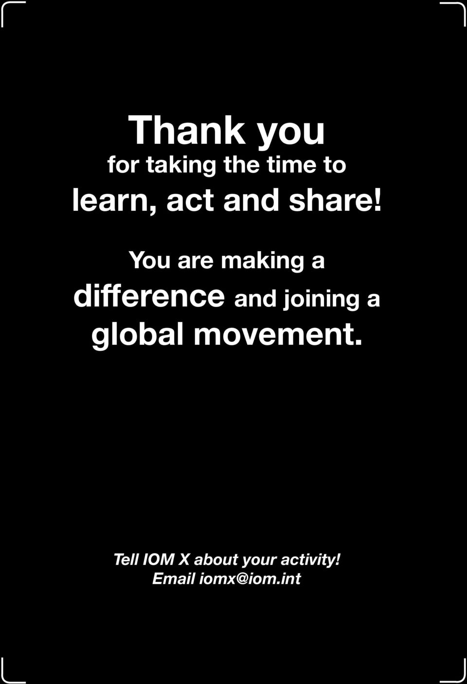 You are making a difference and joining