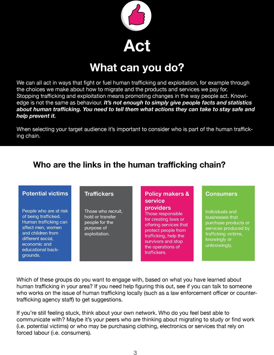 Stopping trafficking and exploitation means promoting changes in the way people act. Knowledge is not the same as behaviour.
