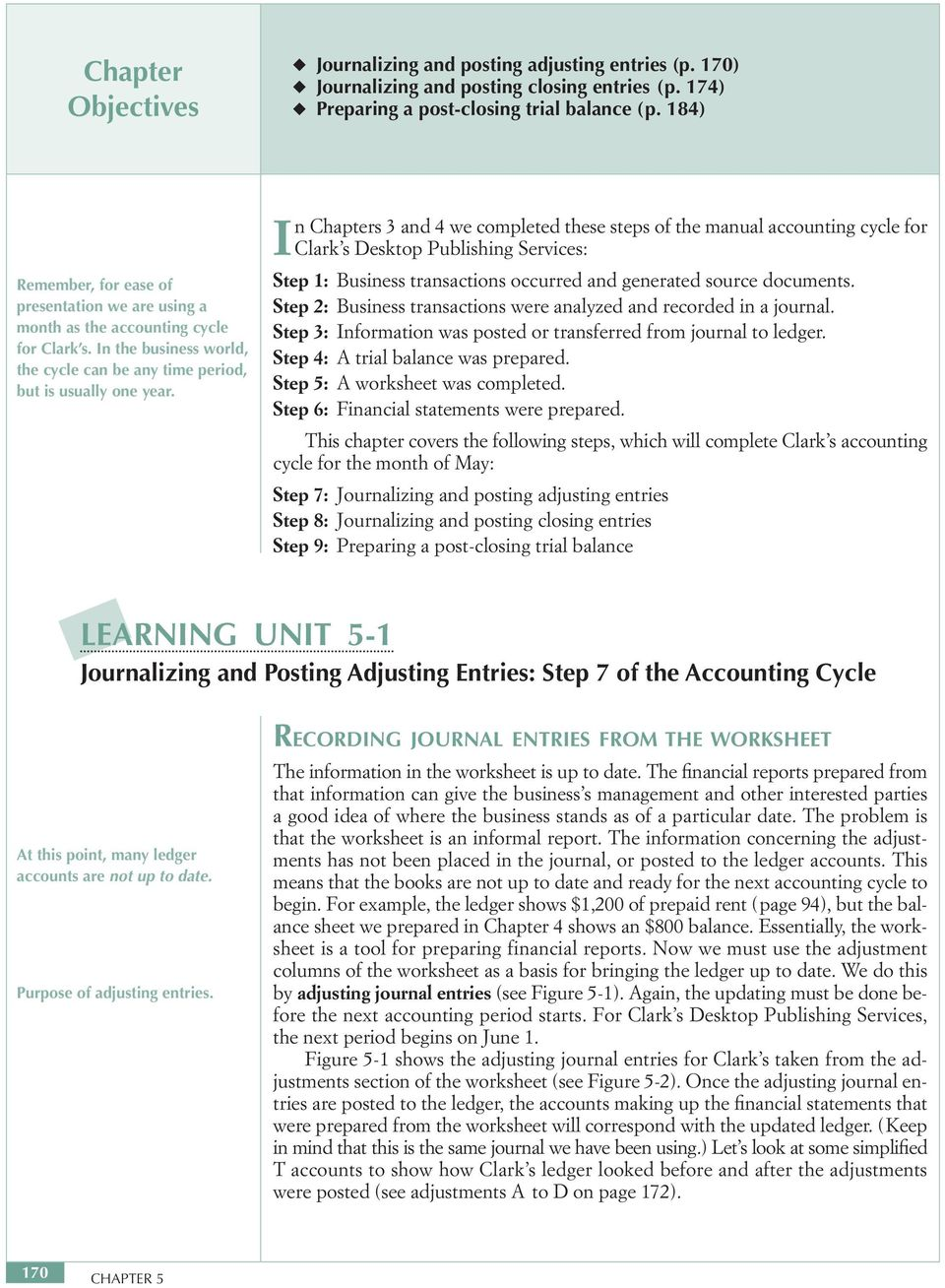 In Chapters 3 and 4 we completed these steps of the manual accounting cycle for Clark s Desktop Publishing Services: Step 1: Business transactions occurred and generated source documents.