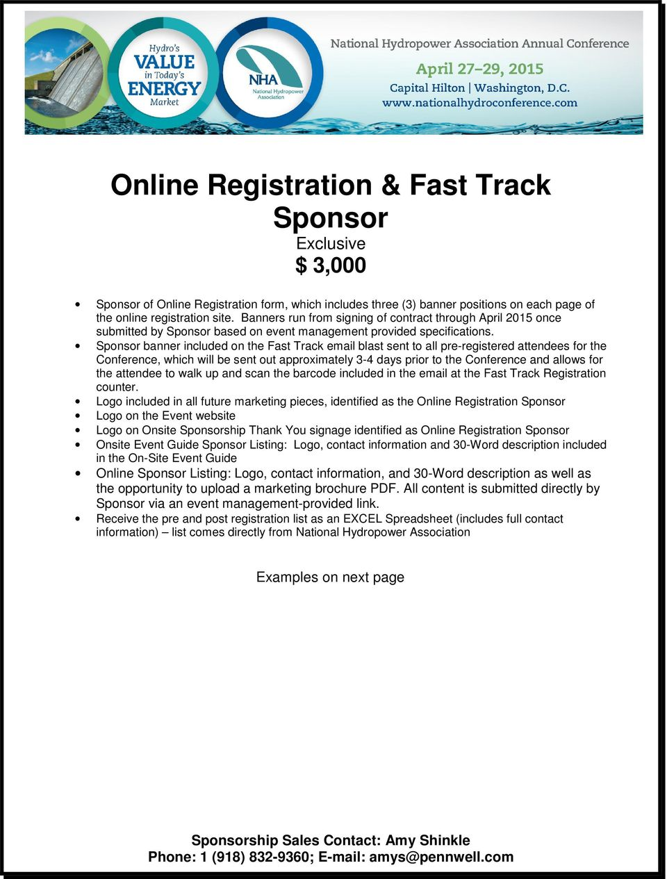 Sponsor banner included on the Fast Track email blast sent to all pre-registered attendees for the Conference, which will be sent out approximately 3-4 days prior to the Conference and allows for the