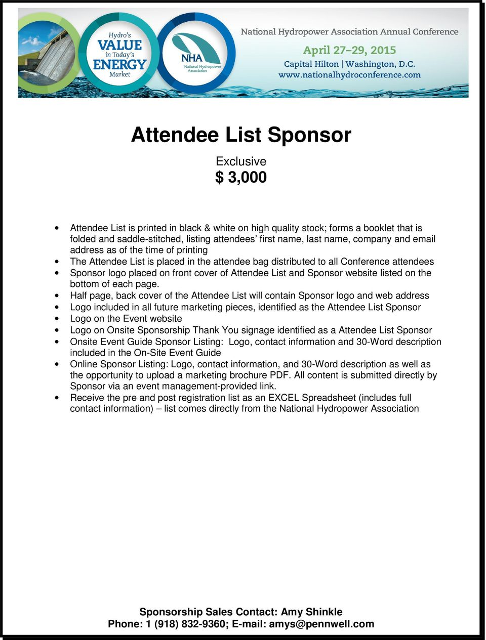 logo placed on front cover of Attendee List and Sponsor website listed on the bottom of each page.