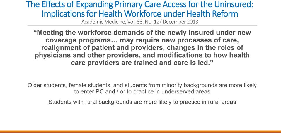 providers, changes in the roles of physicians and other providers, and modifications to how health care providers are trained and care is led.