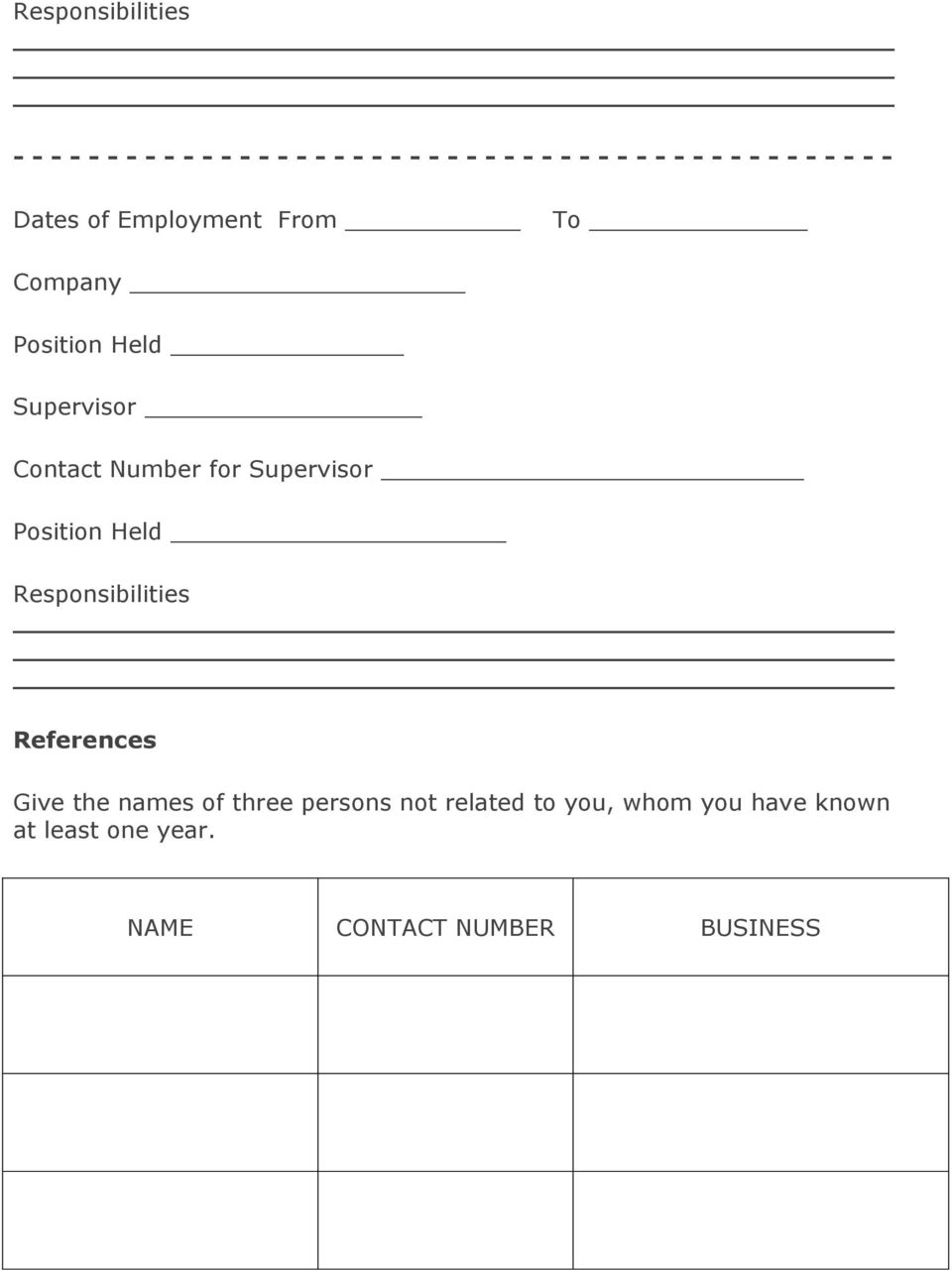 Number for Supervisor Position Held Responsibilities References Give the names of three