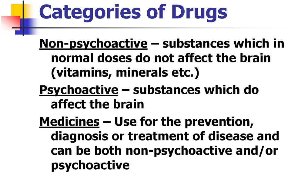 ) Psychoactive substances which do affect the brain Medicines Use for