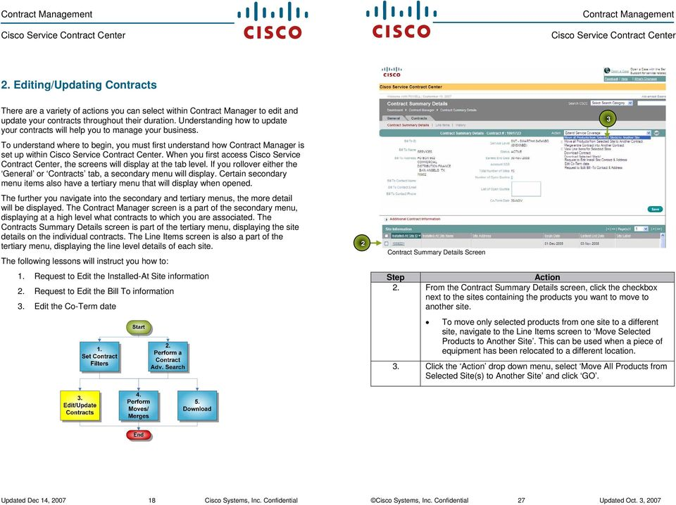 When you first access Cisco Service Contract Center, the screens will display at the tab level. If you rollover either the General or Contracts tab, a secondary menu will display.