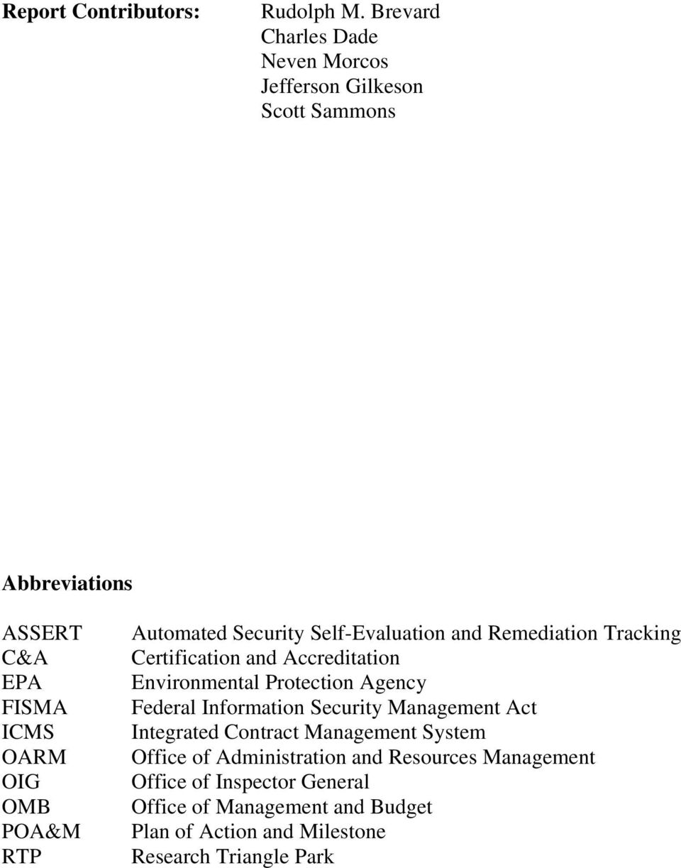 Automated Security Self-Evaluation and Remediation Tracking Certification and Accreditation Environmental Protection Agency Federal