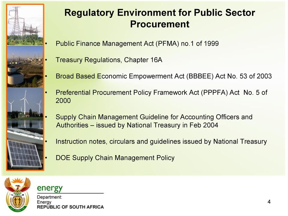 53 of 2003 Preferential Procurement Policy Framework Act (PPPFA) Act No.