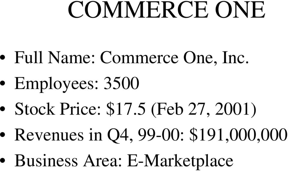 5 (Feb 27, 2001) Revenues in Q4, 99-00:
