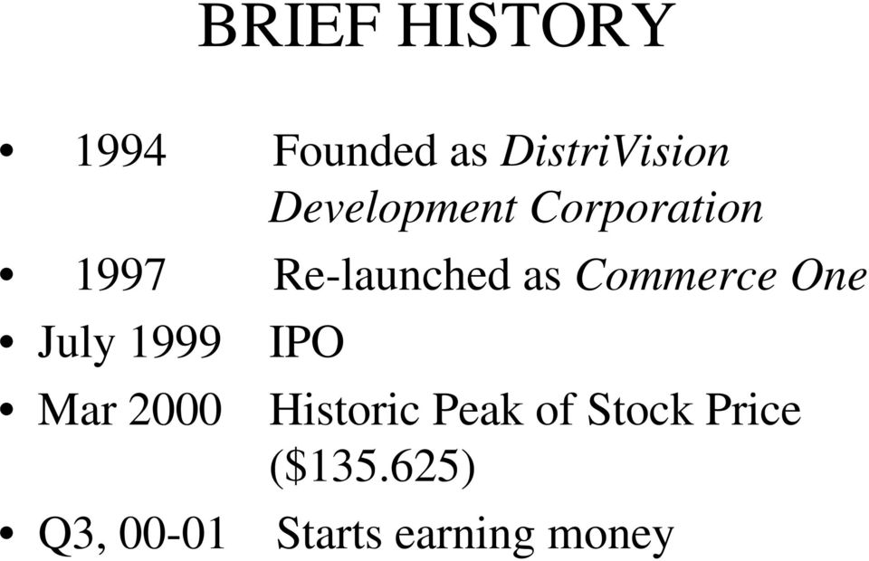 Commerce One July 1999 IPO Mar 2000 Historic