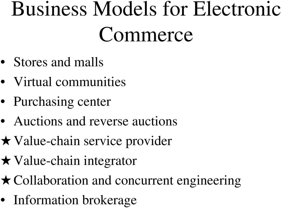 auctions Value-chain service provider Value-chain