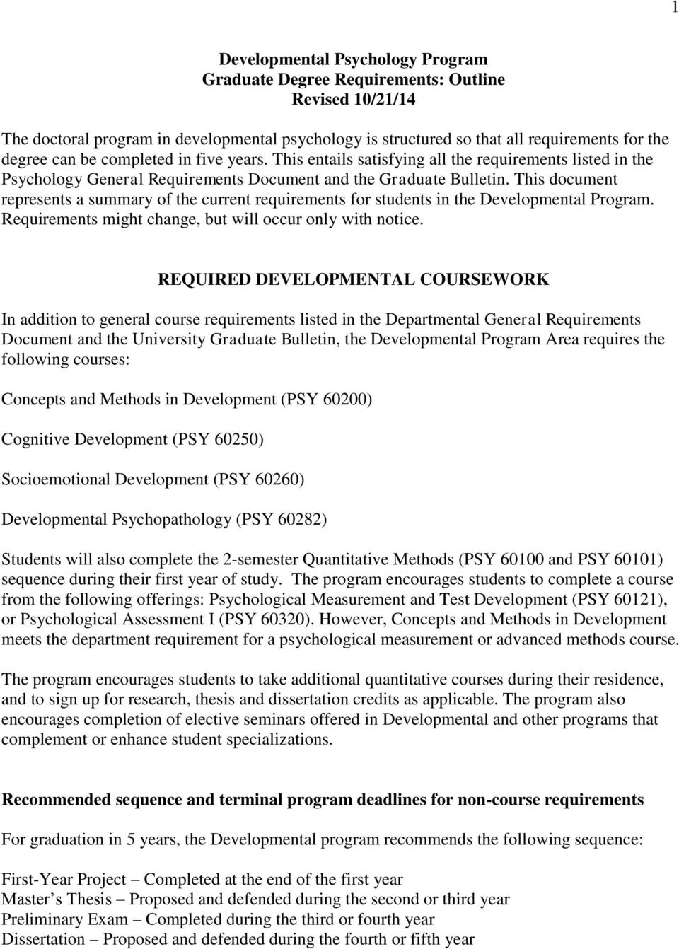 This document represents a summary of the current requirements for students in the Developmental Program. Requirements might change, but will occur only with notice.