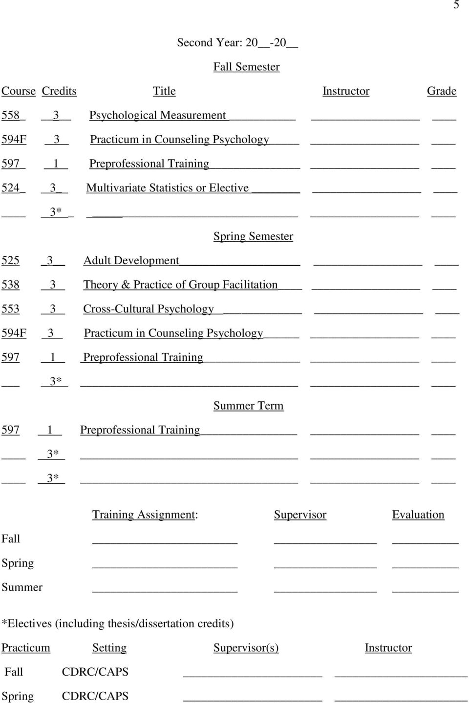 Cross-Cultural Psychology 594F 3 Practicum in Counseling Psychology 597 1 Preprofessional Training 3* Summer Term 597 1 Preprofessional Training 3* 3* Training